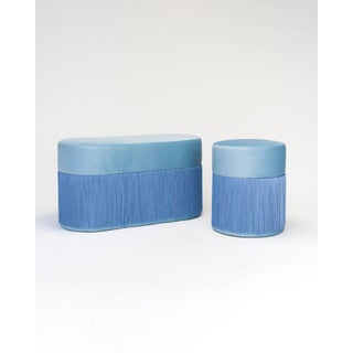 Pouf Pill Large Light Blue in Velvet Upholstery With Fringes Preview