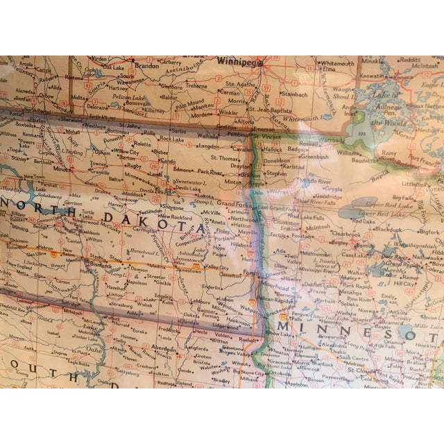 1960s Vintage Framed Printed Map of the United States For Sale - Image 5 of 6