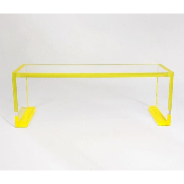 Yellow-Transparent Lucite Console Table For Sale - Image 6 of 6