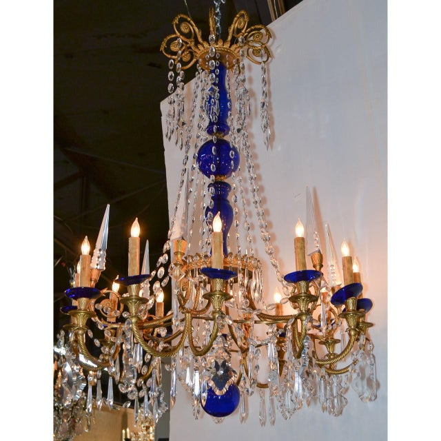 19th Century Pair of Russian Bronze, Crystal, and Cobalt Chandeliers For Sale - Image 4 of 9