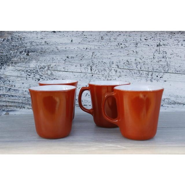 Vintage Corningware Rust Orange Milk Glass Cups - Set of 4 For Sale - Image 9 of 9