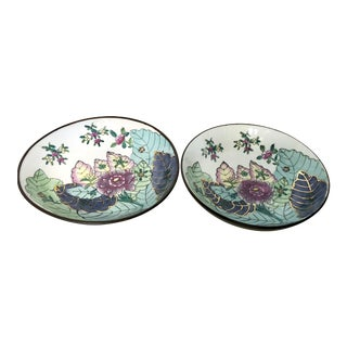 Encased Tobacco Leaf Style Porcelain Bowls - A Pair