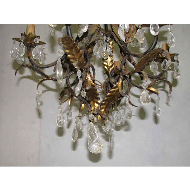 Brass Wrought Iron Brass & Crystal Chandelier For Sale - Image 7 of 8