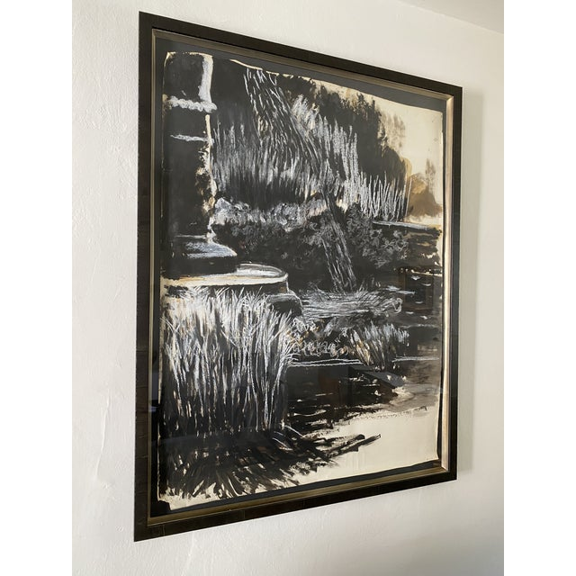Oversize black and white abstract landscape painting, signed and professionally framed.