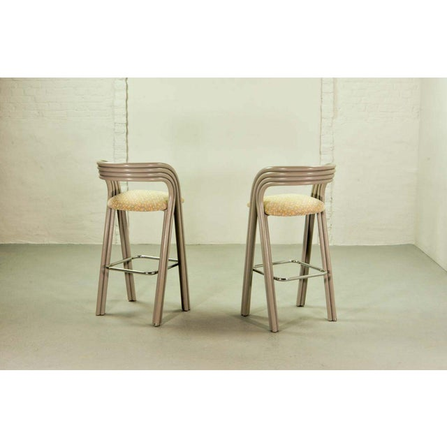 Set of Six Mid-Century Dutch Design Luxurious Bamboo Barstools by Axel Enthoven for Rohé Holland, 1980's For Sale - Image 6 of 13