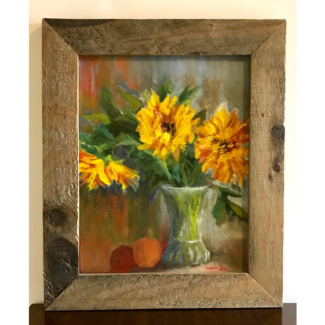 Still Life with Sunflowers Signed Original Oil Painting For Sale In Chicago - Image 6 of 6