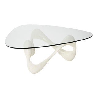 "1990s Contemporary Freeform White Tessellated Stone ""Cursive"" Coffee Table For Sale"
