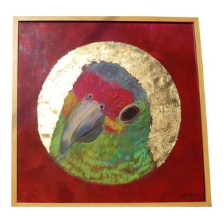 Contemporary Drawing, Parrot in a Golden Cameo For Sale