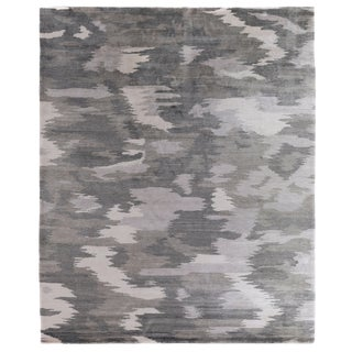 Dartford Hand Knotted Bamboo/Silk Ivory/Silver Rug - 10'x14' For Sale