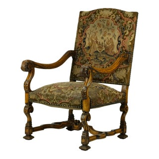 1850 Antique Hand Carved Louis XIV Needlepoint Tapestry Highback Armchair For Sale