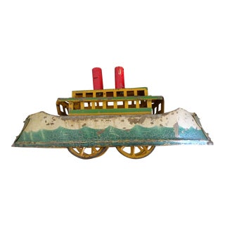 Antique German Tin Boat on Wheels