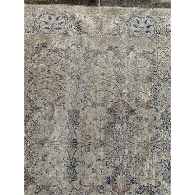 "Vintage Faded Persian Rug - 9' 0.5"" X 6' 1"" For Sale In Los Angeles - Image 6 of 7"