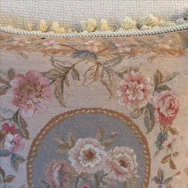 Large Grey, Blue, Cream Needlepoint Pillow - Image 6 of 6