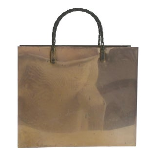 1980s Hollywood Regency Brass Shopping Bag Magazine Holder For Sale