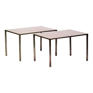 Costa Coulentianos Pair of Bronze Side Tables For Sale
