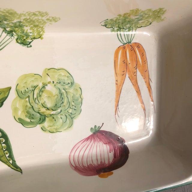 Ceramic Italian Hand Painted Ceramic Vegetable Baking Dish/Serving Platter For Sale - Image 7 of 12