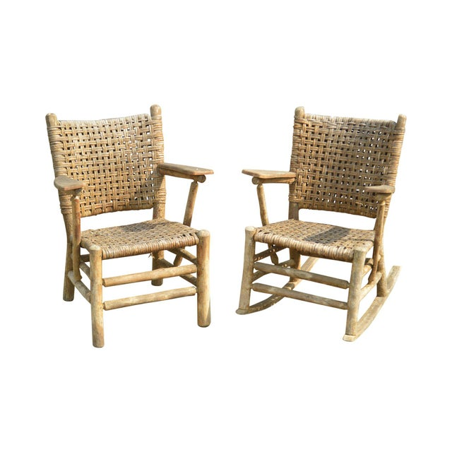 Old Hickory Antique Rustic Armchair & Rocker For Sale - Image 12 of 12