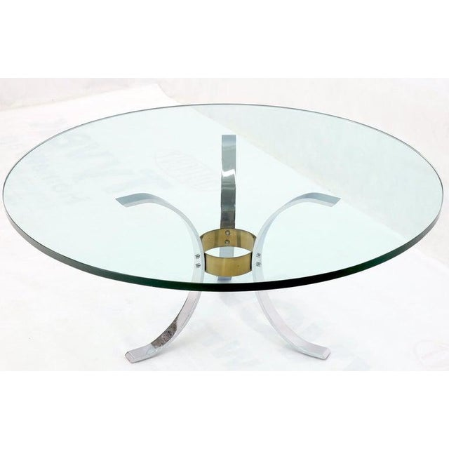 "Metal Heavy Thick 3/4"" Glass Round Top Chrome & Brass Tripod Base Coffee Table For Sale - Image 7 of 12"