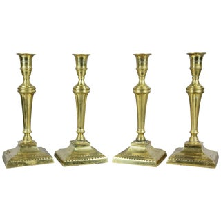 Set of Four George III Brass Candlesticks For Sale
