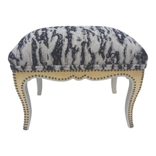 Gold Leaf Riveted Chenille Ottoman