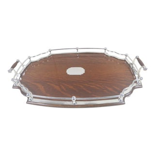 Late 19th Century English Sheffiel and Oak Serving Tray For Sale