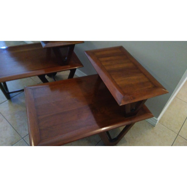 Mid-Century Modern Tiered Walnut Side Tables - Pair - Image 4 of 8