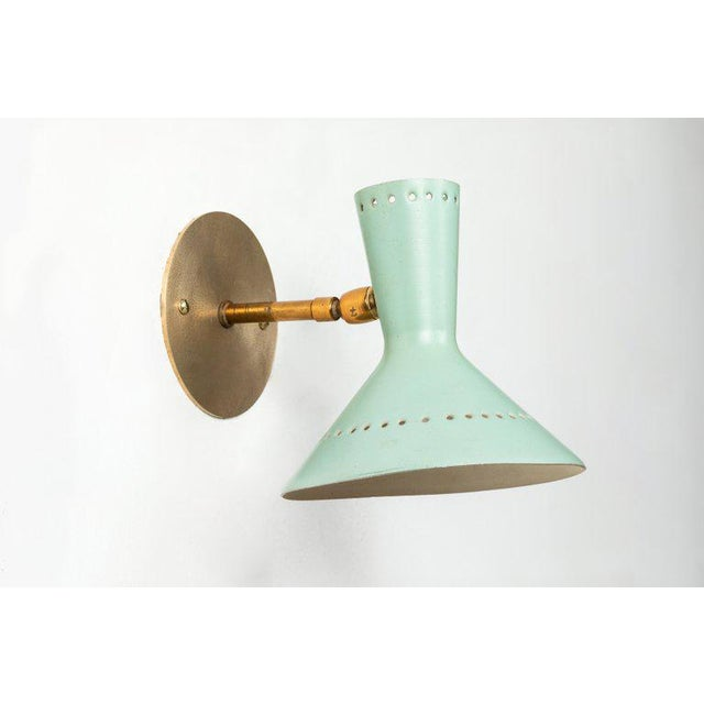 Turquoise 1960s Italian Perforated Double-Cone Sconces in the Manner of Arteluce - a Pair For Sale - Image 8 of 11