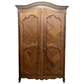19th Century Vintage French Cherry Armoire For Sale