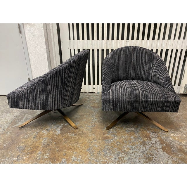 2020s Brand New Lee Industries Swivel Chairs + Charcoal Larsen Fabric - a Pair For Sale - Image 5 of 10