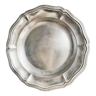 Antique Christofle Silver Plated Serving Tray From Hotel Reynolds Paris For Sale
