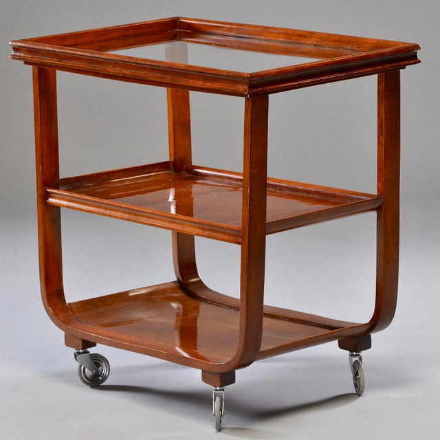 Brown English Wooden Bar Cart or Tea Trolley With Removable Glass Tray For Sale - Image 8 of 8