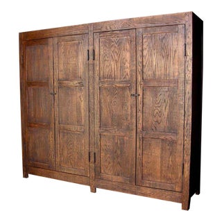 Custom Large Oak Wood Cabinet or Wardrobe For Sale