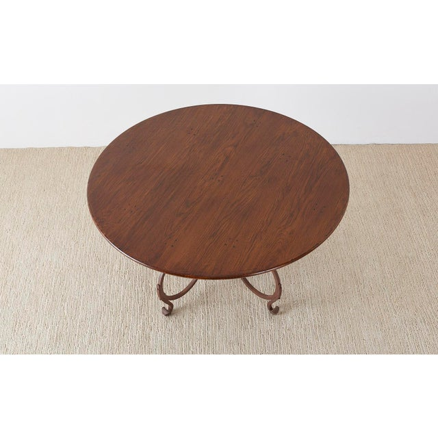 Italian Oak and Scrolled Iron Round Dining Table For Sale - Image 4 of 13