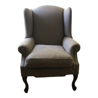 Vintage Gray Linen Wing Back Chair For Sale