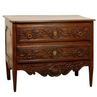 French Early 19th Century Two-Drawer Commode with Foliage Décor and Tapered Legs
