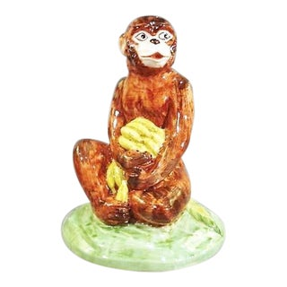 1980s Cottage Chelsea House Porcelain Monkey and Banana's Figurine For Sale
