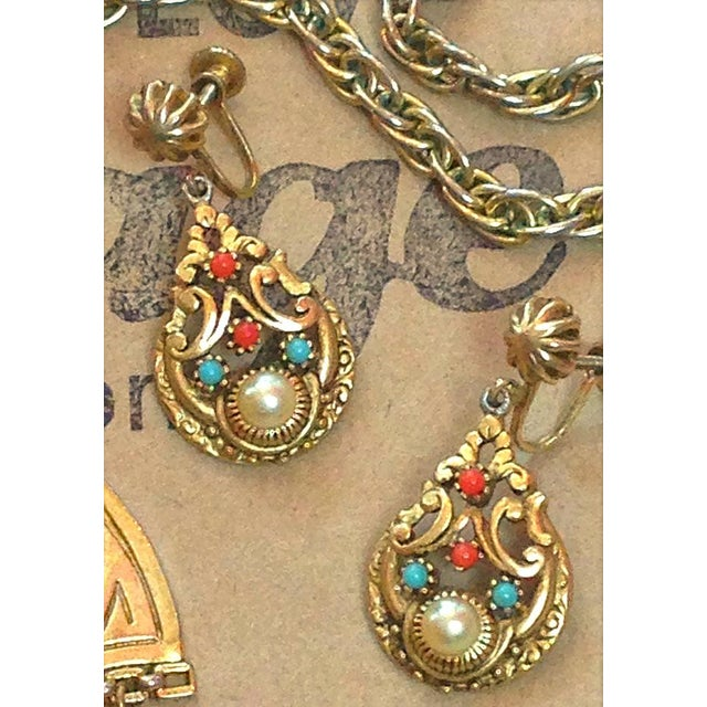 Boho Chic Vintage 1950s Moroccan Boho Gold Stone Statement Necklace & Earrings Set - 3 Pc. For Sale - Image 3 of 6