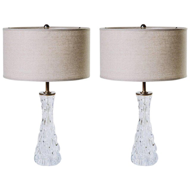 Pair of Swedish Mid-Century Modern Crystal Hourglass Lamps by Orrefors For Sale