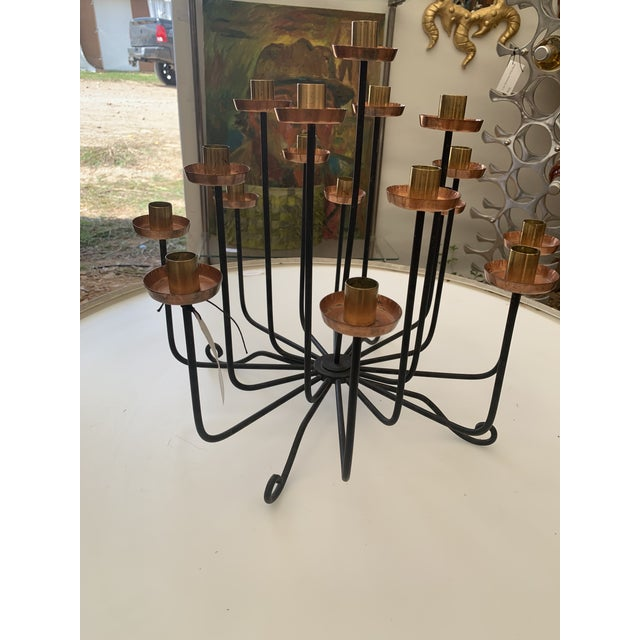 1950s Mid Century Copper Brass and Iron Candle Holder Centerpiece For Sale In Seattle - Image 6 of 7
