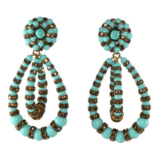 "French Francoise Montague ""Lolita"" Dangle Earrings Blue With Rhinestones For Sale"