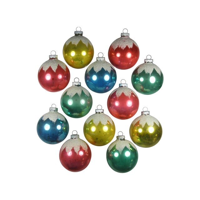 Shiny Brite Snowcap Ornaments - Set of 12 - Image 1 of 3