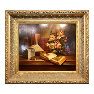 Oil Canvas Still Life of a Book and Flowers Signed Miguel Gallyas For Sale