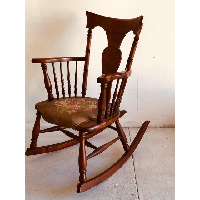 Antique Rosewood Tapestry Rocking Chair Victorian Vintage For Sale In New York - Image 6 of 7