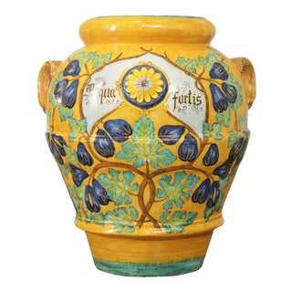 Italian Pottery Large Hand Painted Wall Vase For Sale