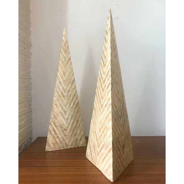 "Beautiful tessellated Capiz Shell pyramids standing an impressive 18"" tall. This circa 1980s pair is in very good..."