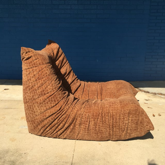 Vintage Togo Fireside Chair With Custom Faux Alligator Suede For Sale In New Orleans - Image 6 of 13