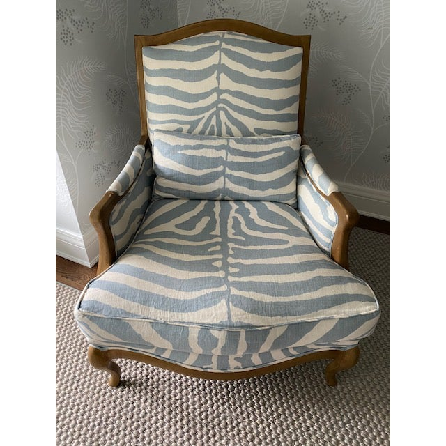 Henredon Club Chair With Cross Pattern Back For Sale - Image 12 of 12