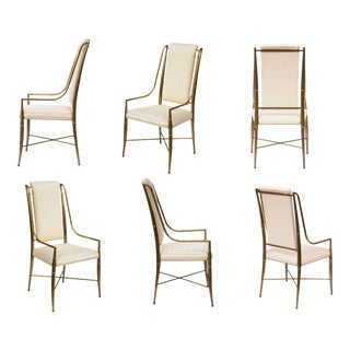 Brass Faux Bamboo Dining Chairs by Weiman / Warren Lloyd for Mastercraft, S/6 For Sale