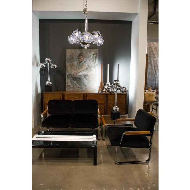 Mid-Century Modern Midcentury Chrome and Mohair Loveseat, Chair and Table Set, 1960s For Sale - Image 3 of 11