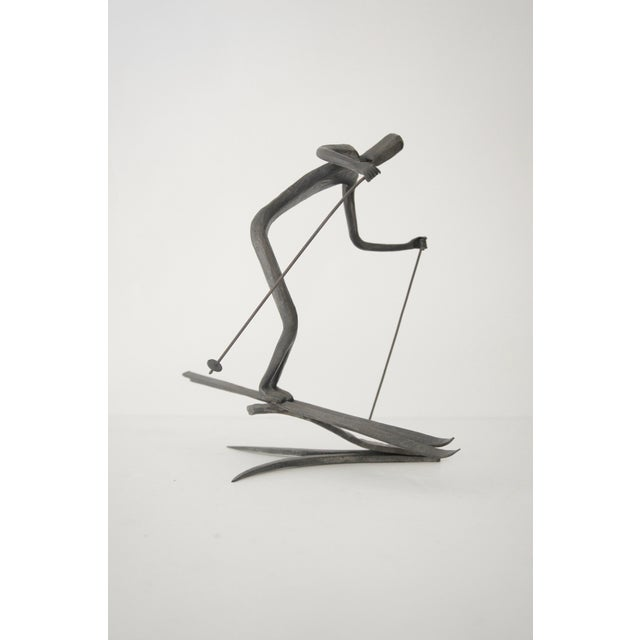 Bronze Skiing Figures Sculptures Initialed Bb Dated 1967 - a Pair For Sale - Image 4 of 8